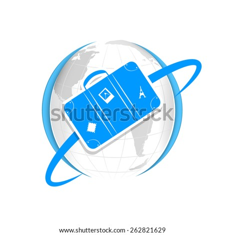 Paper suitcase flying around the paper planet Earth - stock vector