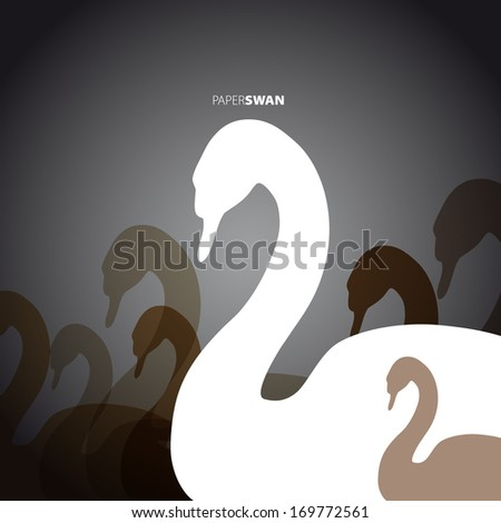 Paper Swan - greeting card symbol - vector illustration - stock vector