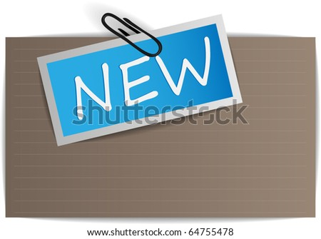 Paper tag with pin - stock vector