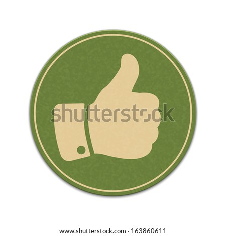 Paper thumb up sticker isolated on a white background - stock vector