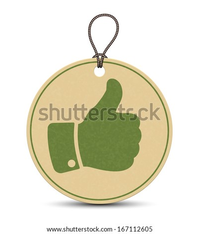 Paper thumb up tag isolated on white background - stock vector