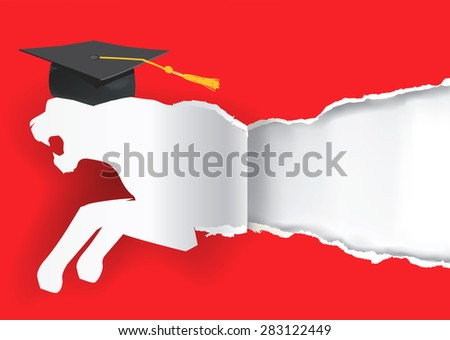 Paper tiger silhouette with mortarboard. Paper tiger silhouette with mortarboard ripping red paper background symbolizing graduate of ambitious and  competitive student. Vector Illustration.  - stock vector