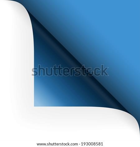 Paper - top corner - blue - stock vector