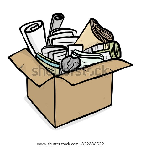 paper trash in cardboard box / cartoon vector and illustration, hand drawn style, isolated on white background. - stock vector