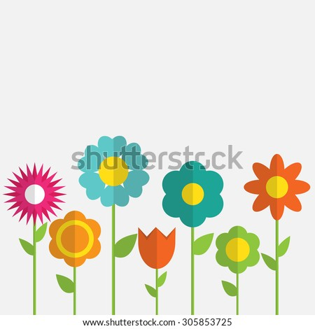 Paper Trendy Flat Flower Set Vector Illustration EPS10 - stock vector