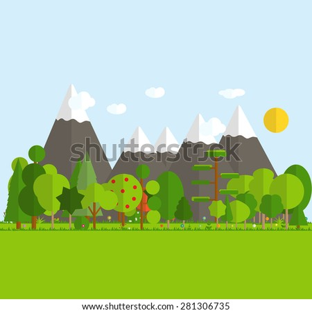 Paper Trendy Flat Nature Background Vector Illustration EPS10 - stock vector