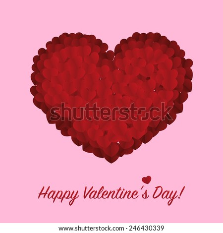 Paper vector hearts with Happy Valentines Day text - stock vector
