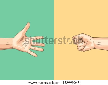 Paper VS  Rock - stock vector