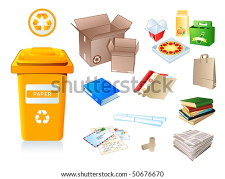 Paper waste and garbage suitable for recycling - stock vector