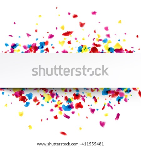 Paper white banner with color painted drops. Vector illustration.