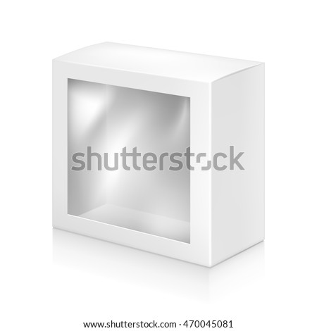 Paper white box with window mock-up template. Good for packaging design. Vector illustration.