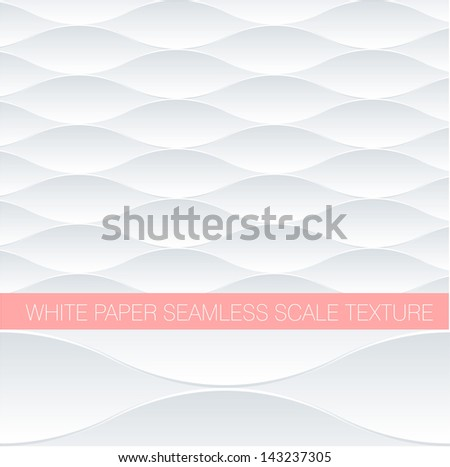 Paper white fish scale seamless pattern. Minimalist vector background. - stock vector