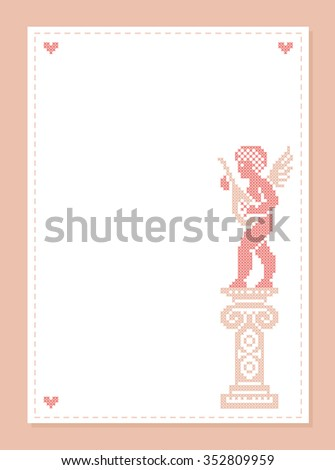 Paper with a space for text. Cute Cupid. Cupid angel. Valentine card. Vector frame. - stock vector