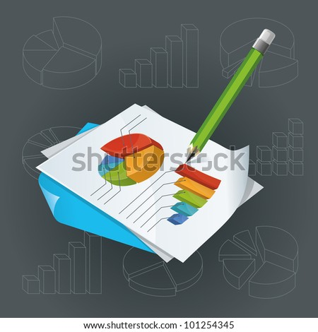 Paper With Charts And Pencil - stock vector