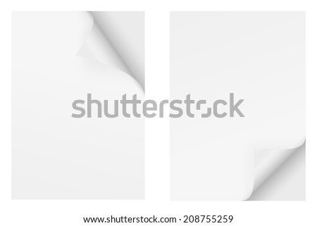 Paper with corner - top and bottom - stock vector
