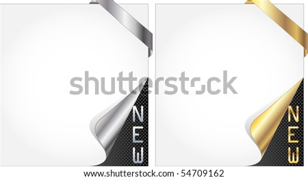 Paper with curl and new lettering for a new item. - stock vector
