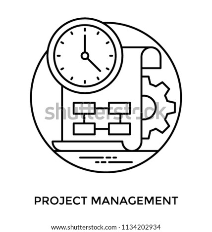 Paper diagram project steps wall clock stock vector 1134202934 paper with diagram of project steps a wall clock and gears in the background denoting ccuart Choice Image