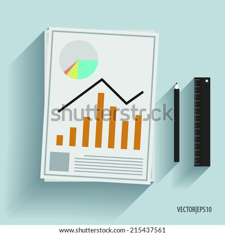 Paper with financial chart. - stock vector
