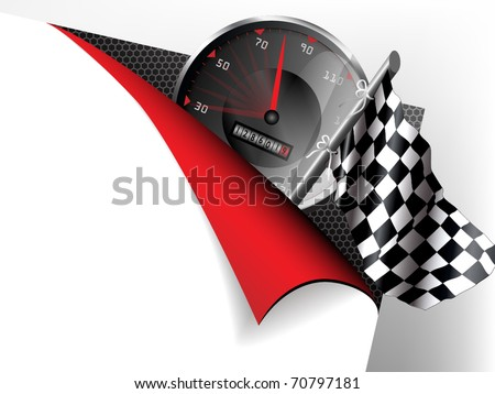 Paper with flex corner with racing theme - stock vector