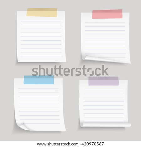Paper With Tape, Blank Lined Paper Notes With Colored Adhesive Tape, Vector  Eps10 Illustration  Blank Line Paper