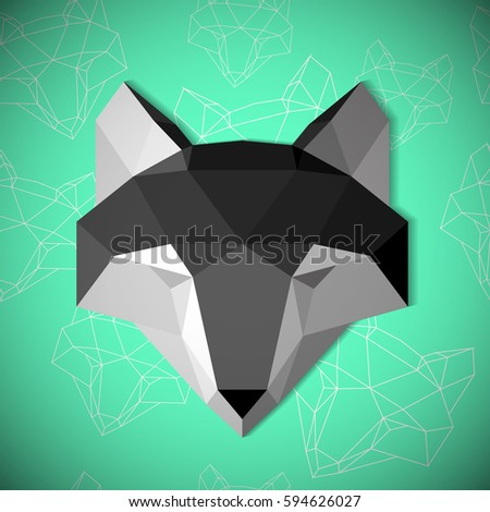 Paper Wolf Mask Origami Animal Abstract Illustration