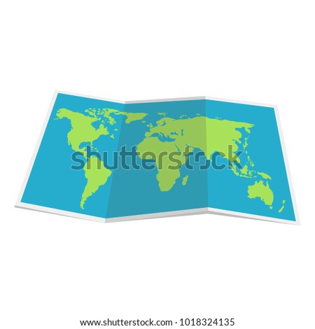 Paper world map. Geography icon. Modern vector illustration in a flat style isolated background.