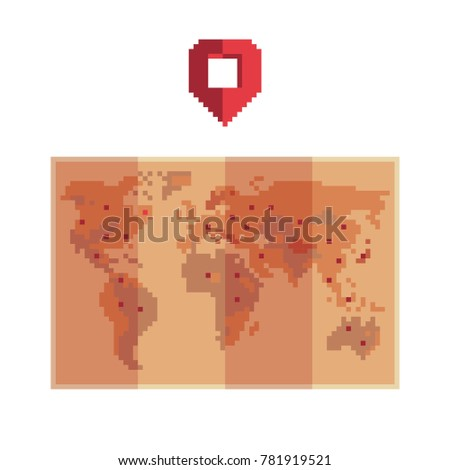 Paper world map pixel art style stock vector 781919521 shutterstock paper world map pixel art style 8 bit game assets isolated gumiabroncs Choice Image