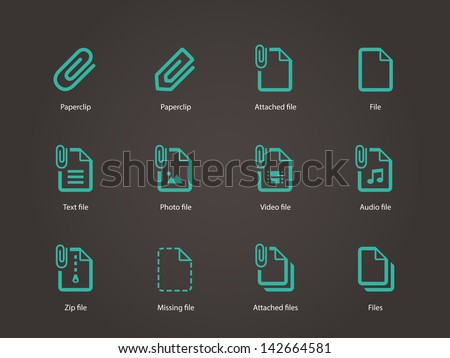 Paperclip file icons on brown background. Vector illustration. - stock vector
