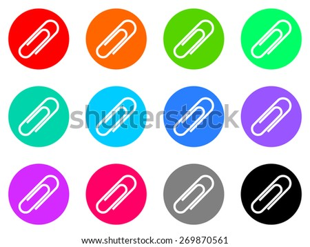 paperclip vector icons set - stock vector