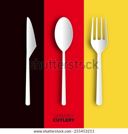 Papercut cutlery on germany flag, Vector restaurant card menu design - stock vector