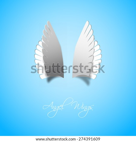 Papercut style Angel wings, vector illustration, gift card - stock vector