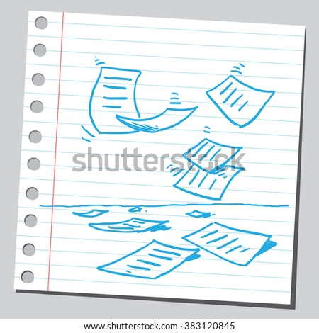 Papers falling down - stock vector