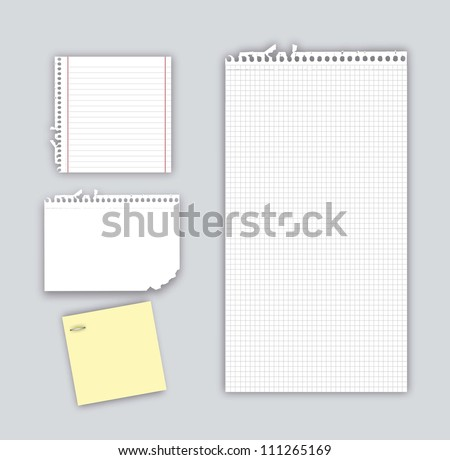 papers notebook with shadow over gray background. vector - stock vector