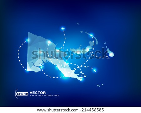 Papua New Guinea country map polygonal with spot lights places