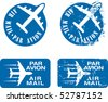 Par Avion or air mail rubber stamps. Grunge and clean vector illustration. - stock photo