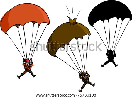 Parachute jumper with damaged parachute and silhouette variations - stock vector