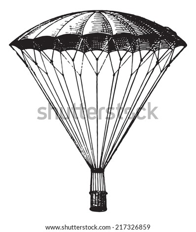 Parachute, vintage engraved illustration. Dictionary of words and things - Larive and Fleury - 1895. - stock vector