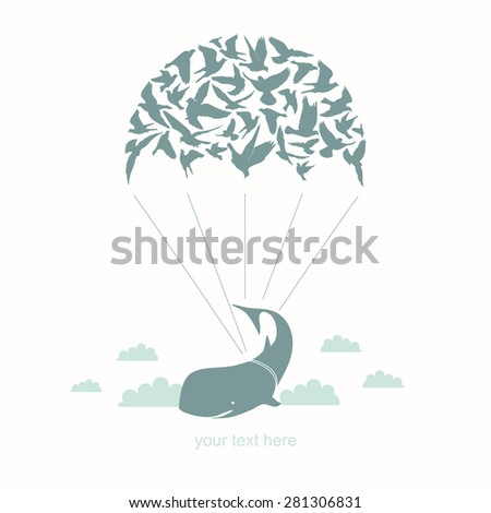 Parachute with birds and whale. - stock vector