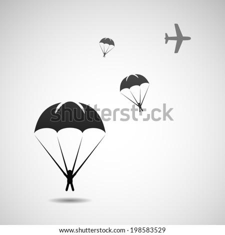 Parachuting - stock vector
