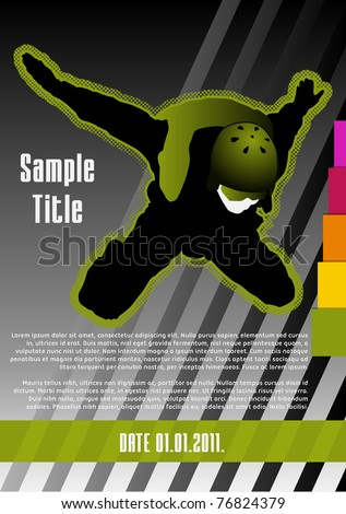 Parachuting concept poster template. Vector illustration. - stock vector