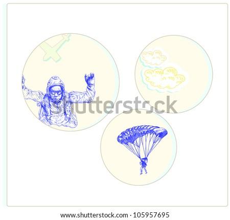 parachutist, hand drawing, vintage processing - stock vector