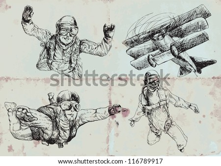 Parachutists collection. Vintage sport illustrations. Vector description: Editable in several layers (at least three layers). Number of colors in each layer: no more than sixteen.