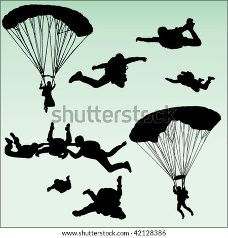 parachutists silhouette collection - vector - stock vector