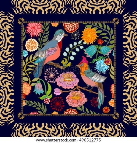 Paradise garden. Silk scarf pattern with flowers, willow leaves and fantasy birds. Chinese, Japanese, Korean motifs. Vintage textile collection. Black.