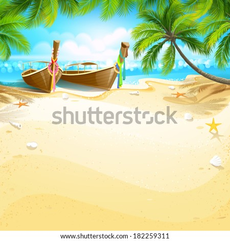 Paradise island - stock vector