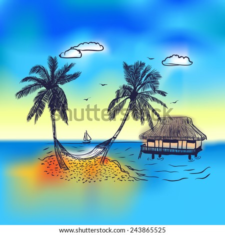 Paradise island with bungalow,  palm tree and hammock. Trip background with blue sea and yaht on horizon - stock vector