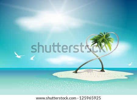 Paradise Vector Island banner with palm trees. Graphic Design Editable For Your Design. - stock vector