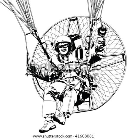 paragliding - stock vector
