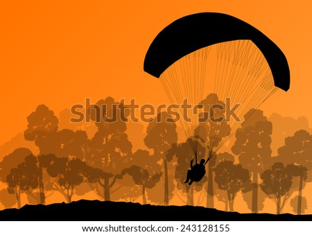 Paragliding active sport background landscape concept vector - stock vector