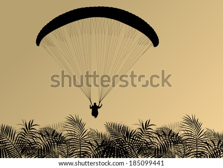 Paragliding active sport background landscape concept vector with palm tree leaves - stock vector